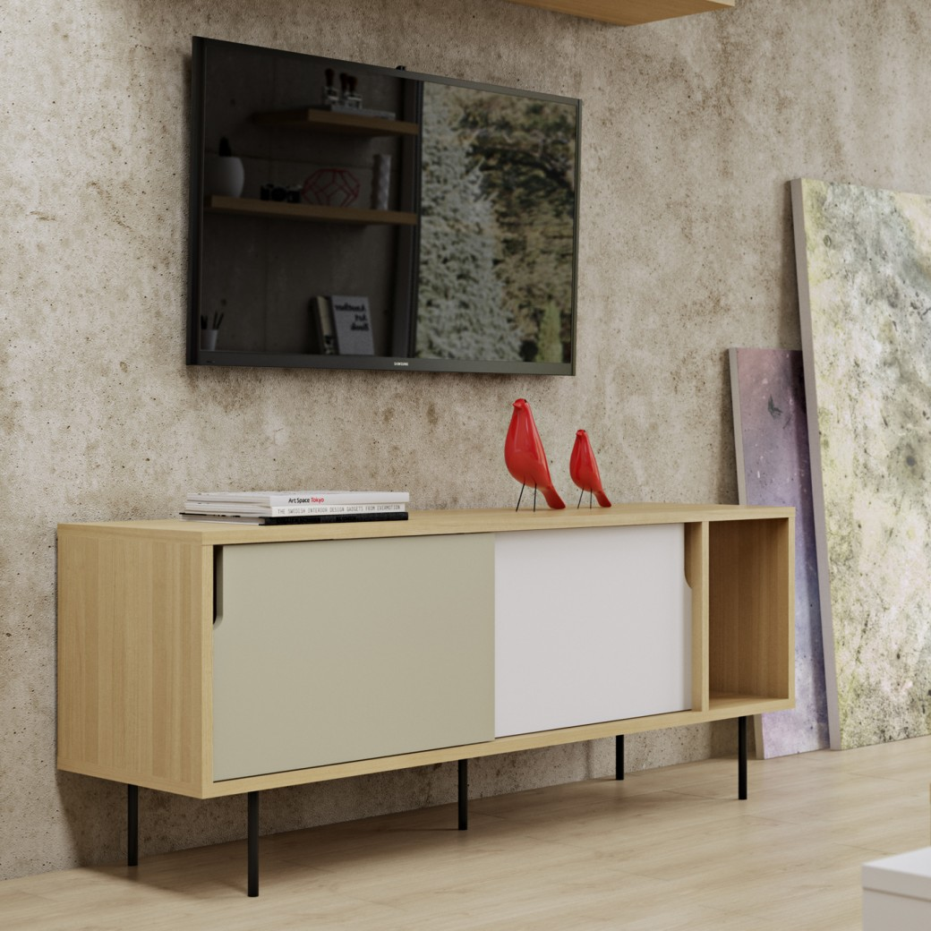 temahome dann tv taso 165 liukuovilla metallijalat k65. Black Bedroom Furniture Sets. Home Design Ideas